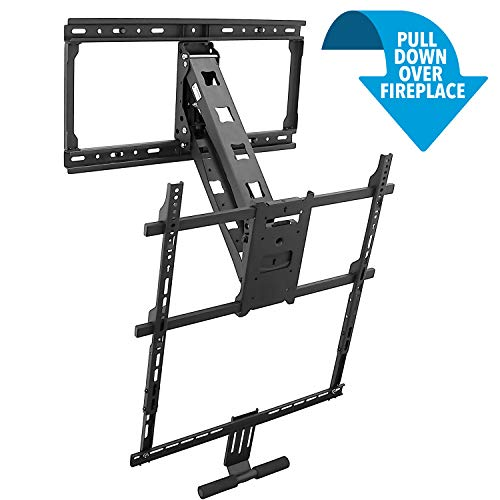 Mount-It! Pull Down Fireplace TV Mount | Heavy-Duty Height Adjustable Mantel TV Mount | Fits 42 to 80 Inch TVs | VESA 100x100 to 600x500 | 62lb Capacity