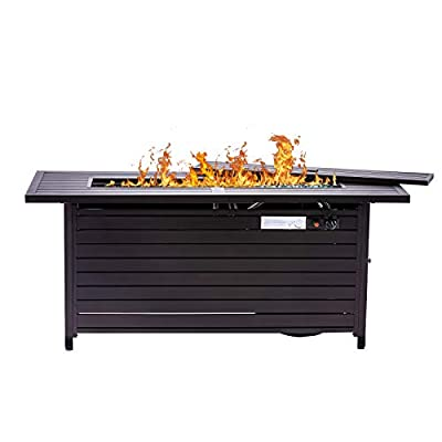 57 Inch 50000BTU Extruded Aluminum Outdoor Gas Propane Fire Pit Pits Firepit Fireplace Dinning Table Tables with Lid, Fire Glass, Retangular, ETL Certification, for Garden Backyard Deck Patio