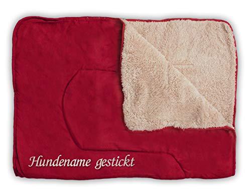Direkt-Stick.de Hundedecke mit Namen Bestickt, personalisierbare Heimtierdecke für Hunde und Katzen, 4 Farben, weiche Wendedecke, Liegedecke Teddyfell (dunkelrot)