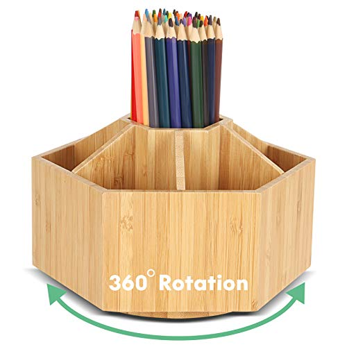 Rotating Pencil Holder Desk Organizer,Bamboo Art Supply Organizer,Lazy Susan Desk Storage,Marker Organizer Crayon Paint Brush Holder,Remote Caddy,Education Supplies & Craft Supplies