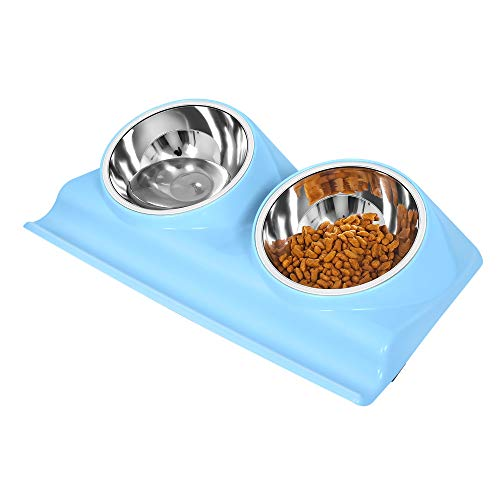 UPSKY Double Dog Cat Bowls Stainless Steel Raised Pet Bowls, with Anti Slip Resin Station, Pet Feeder Bowls of Cats and Small Medium Dogs