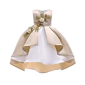 K-youth Vestidos de Fiesta para Niñas Elegantes Vestido Niña Vestido de Flores Sin Mangas Tutú Princesa Vestido Bebé Niña Ropa Niña Vestido Bebe Niña Bautizo Boda Ceremonia(Caqui, 5-6 años)