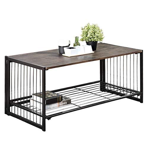Coavas Tavolino Pieghevole da Salotto Tavolino da Salotto Tavolo Rettangolare Stile Industriale Moderno Assenza di Montaggio Metallo Nero Rustico Legno Marrone