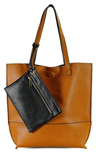 Scarleton Trendy Reversible Tote Bag H20182501 - Camel/Black