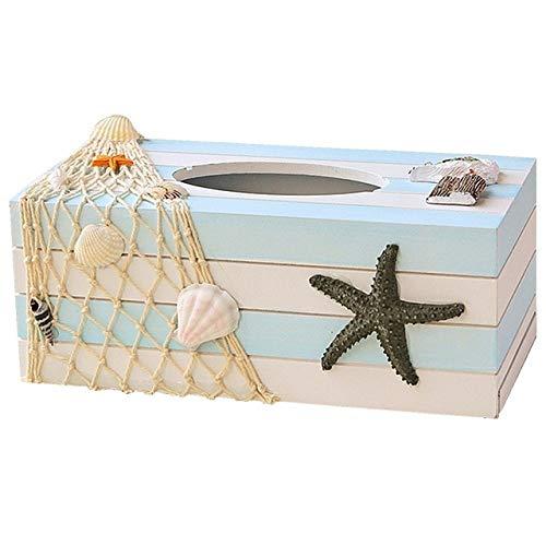 MENGCI Houten Tissue Box Deksel Shell Visnet Strand Pompen Tissue Papier Tissue Houder