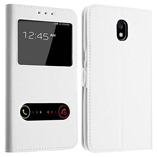 Gemtoo® Etui Coque Housse avec FENETRES pour Samsung Galaxy J7 2017 (SM-J730) - Plusieurs Couleurs Disponibles - Blanc