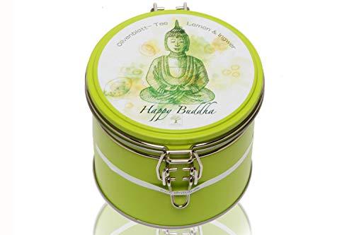OLIVICIO Happy Buddha Olivenblättertee mit Zitrone und Ingwer. Loser Natur Olivenblatt Tee in einer Metall-Geschenkdose. Koffeinfreier Kräutertee, mild und fruchtig im Geschmack. Toller Energy Tee.