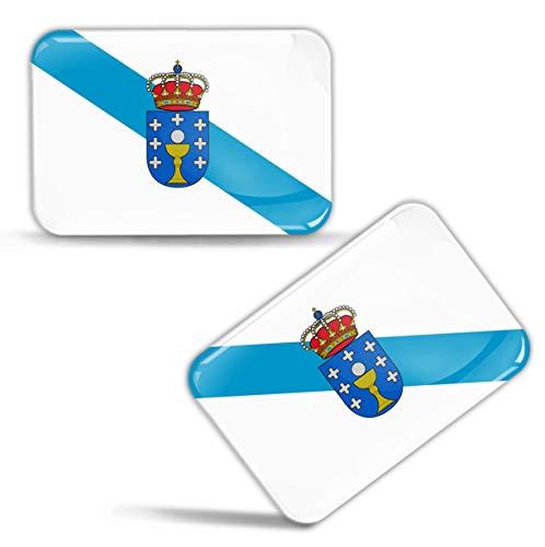 Biomar Labs® 2 x 3D Gel Pegatinas Siliconas Calcomanías de España Bandera de Galiza Galicia Emblema Gallega Stickers Españoles Spain Flag Adhesivos Auto Coche Moto Bicicleta Ordenador F 85