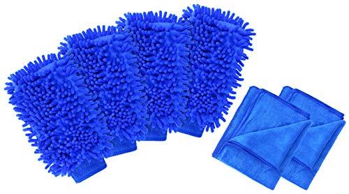 com-four® 6-teiles Autopflege-Set mit Microfasertuch und Autowaschhandschuh - Mikrofasertuch - Auto-Poliertuch - Autopflege-Tuch (06-teilig - Autowasch-Set)
