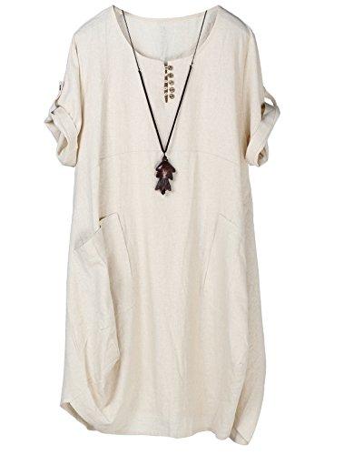 Tebreux Damen Tunika Kleid Sommer Baumwolle Leinen T-Shirt Midi Kleider Boho Lang Sommerkleider Beige XX-Large