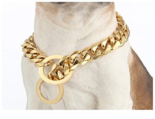 GTHAO Stainless Steel Dog Choke Chain Collar, Puppy Gold Metal Cuban Chain Pet Show Slip Collar Choker for Training Walking