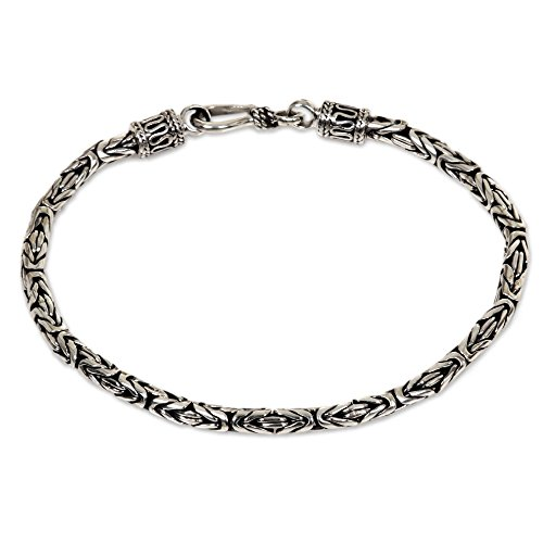 NOVICA .925 Sterling Silver Balinese Chain Bracelet, Borobudur Collection'