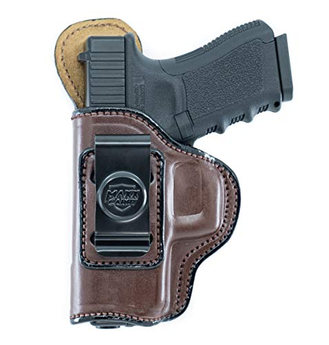 Maxx Carry IWB Leather Gun Holster for Walther PPQ, PPQ M2, PPQ .45 | CANIK TP9SF Elite | FN FNX45 | H&K HK 45, USP 9mm & 40 S&W | Sig Sauer P250 Compact, Brown, Left Hand Draw