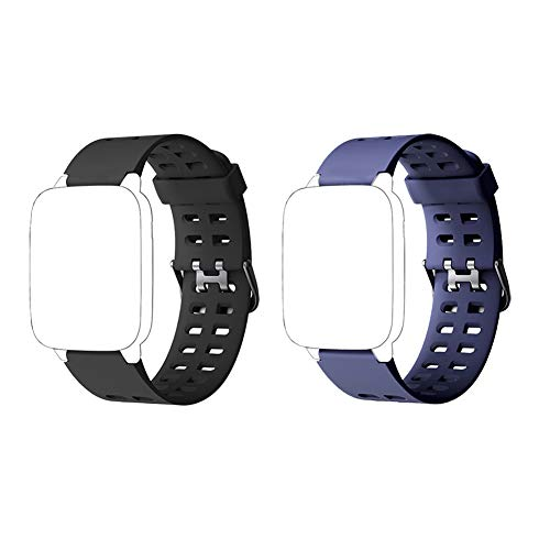 Mini Kitty ID205 ID205L ID205S Replacement Straps Bands Soft Silicone Smart Watch Strap Band for Fitness Tracker Watch Adjustable Wristband Multiple Colors (Black+Blue)