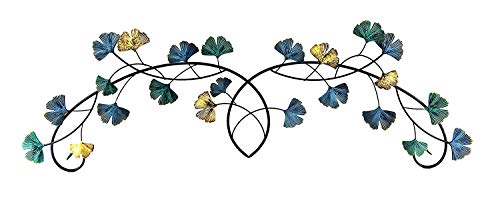 Bellaa 23950 Metal Wall Art Flower Ginkgo Leaf Abstract Blue Scroll Hanging Celtic Sculpture Home Decor Rustic Japanes Style Golden Blue Turquoise 39 inch