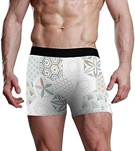GOSMAO Fitted Boxer Bóxer Patrón de hexágonos Boxer Calzoncillos para Hombre,1,XXL