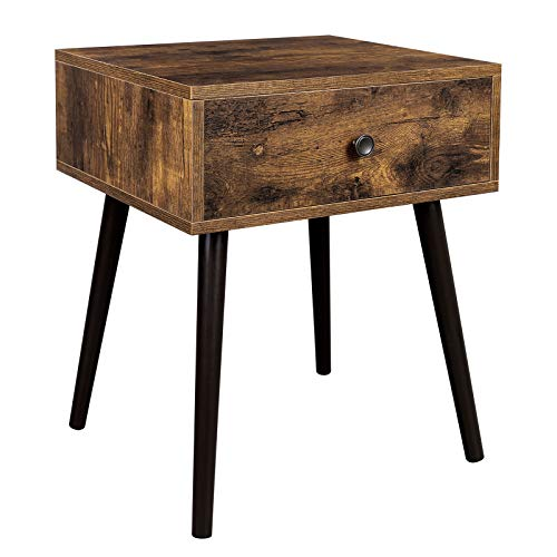 VASAGLE Nachttisch, Beistelltisch, Couchtisch mit Schublade und schrägen Beinen, Vintage-Stil, vintagebraun LET176B01