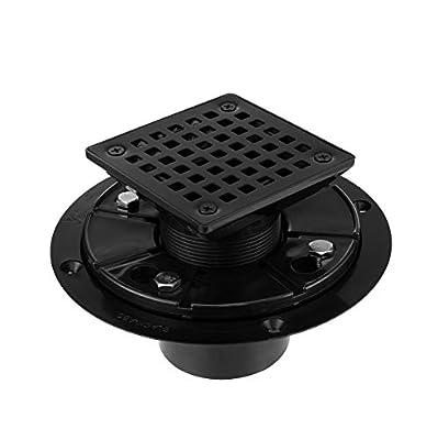 "Square Design Tile-In Floor Shower Drain, ABS Adjustable Shower Drain Base,Lower Drain Body Fit 2"" or 3"",For Kitchen,Bathroom (BLACK A)"