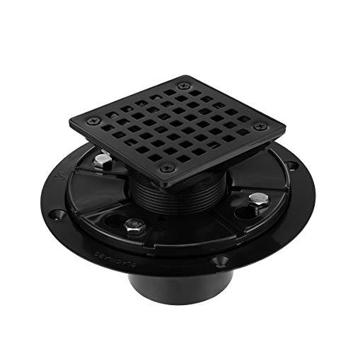 Square Design Tile-In Floor Shower Drain, ABS Adjustable Shower Drain Base,Lower Drain Body Fit 2 or 3,For Kitchen,Bathroom (BLACK A)