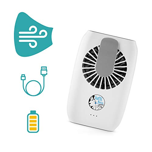 Luftikuss Mini Ventilator USB mit Powerbank Funktion I Handventilator Leise & Aufladbar mit kräftigem Luftstrom I Tragbarer Ventilator klein für bis zu 5,6 h Betriebszeit