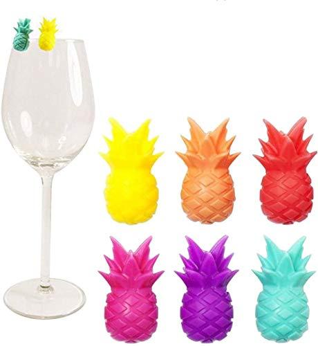 Yardwe 12pcs Glasmarkierer Ananas Getränkemarker Silkon Obst Glas Markierung Markierung für Glas Tasse Becher Party Feiern Bar 6 Farbig