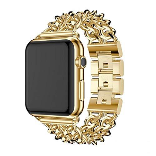 ESTK Banda De Diseño De Cadena De Moda Compatible Con Apple Watch Band, Pulsera Con Correa De Repuesto De Aleación De Zinc Para Iwatch Series Women & Men