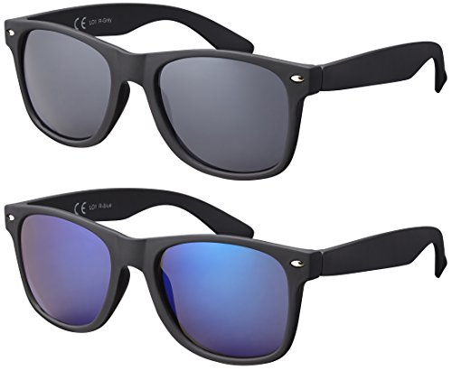 La Optica Original UV400 CAT 3 Unisex Sonnenbrille Nerd - Doppelpack Rubber Schwarz (Gläser: 1 x Grau, 1 x Blau Verspiegelt)