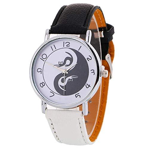 U/K Reloj de pulsera analógico de cuarzo con esfera redonda de Yin Yang y armonía china, accesorio de mano para regalo, elegante y popular