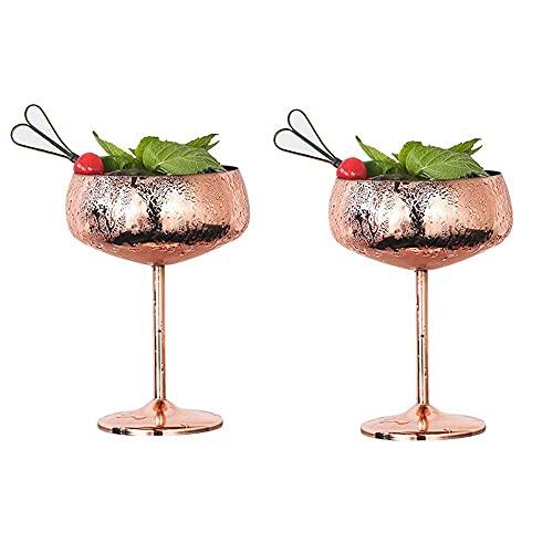 2 piezas de copas de vino, copa de vino tinto de acero inoxidable 304, vidrio de cóctel, vidrio de helado, vidrio de martini, cuenco de refrigerio, copa, copa de cerveza de champán (Color : Pink)