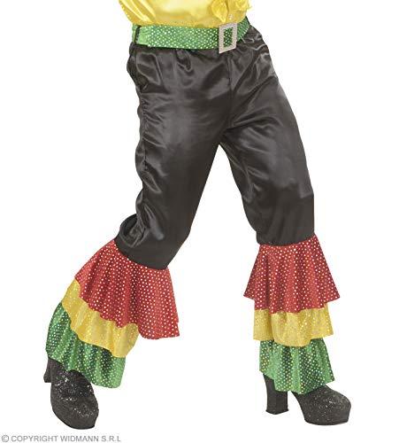 xL zwart satijnen broek met pailletten riem - Heren kostuum extra groot voor 70s Travolta nacht koorts thema Fancy jurk