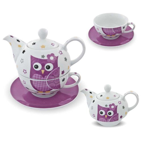 Porzellan Tee Set Tea for one Teeservice Teekanne Tasse Untersetzer Eule pink weiß