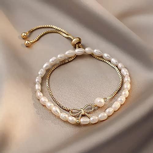 QiuYueShangMao 2pcs / Set Perlas de Agua Dulce Naturales Pulseras de Hilo con Cuentas Pulsera de Moda chapada en Oro para Mujeres Joyería de Moda Joyería de la Amistad