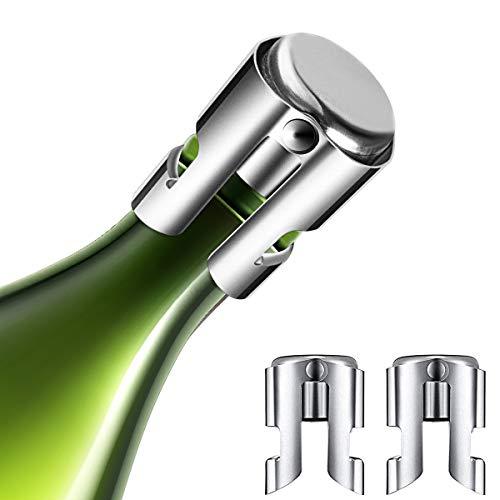 Kimimara Bouchons à Champagne, 3 Pcs Bouchons Acier Inoxydable pour Bouteille de Vin, Les Bouchons de Bouteilles de vin, Accessoires de Cadeaux pour Le Champagne (Argent)