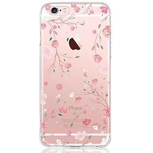 Oveo® Coque iPhone 6 / 6S, Série Dolce Vita Housse Etui Silicone Transparente pour Fille/Femme, avec motif Fleur Rose