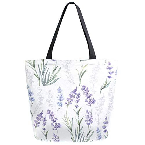 ZzWwR Chic Lavender Flowers Fashion Elegant Extra Large Canvas Beach Travel Reusable Grocery Shopping Tote Bag Foldable Handbag Portable Storage HandBags