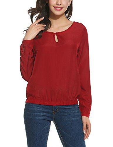Parabler Damen Bluse Chiffon Langarm Shirt Tops Elegant Blusen Oberteil Hemd Monochrom Mode, S, X-rot