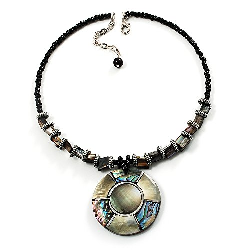 Avalaya Jet Black Glass, Shell & Mother of Pearl Medallion Choker Necklace (Silver Tone)