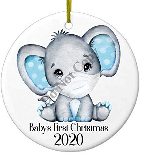 2020 Christmas Keepsake Ceramic Ornament Baby's First Christmas Covid Coronavirus Boy Elephant