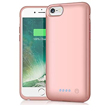 Battery Case for iPhone 6/6s/7/8 [Upgraded 6000mAh] Ekrist Portable Ultra-Slim Protective Charging Case Extended Rechargeable Smart Battery Pack Backup Charger Case Power Bank Cover  Rose Gold