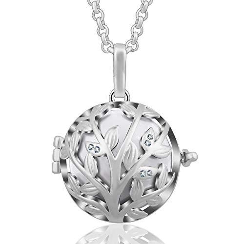 Llamador de ángeles Árbol de la Vida 24 mm con Detalles de Cristal, Collar de Plata para Mujer
