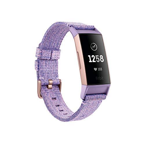 Fitbit - Charge 3 - Bracelet d'activité Forme et Sport : Jusqu'à 7 Jours d'autonomie et Étanche - Aluminium Or Rose / Tissé Lavande