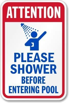 """Bin Shang """"Attention Please Shower Before Entering Pool"""", 20,3 x 30,5 cm"""