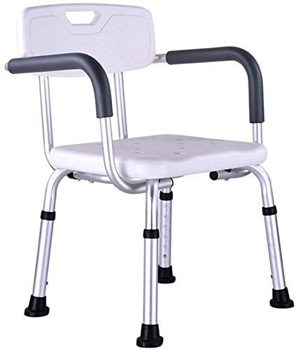 JF-XUAN Stools Bath Stool Shower Stool Bath Chair Seat with Armrests with Backrest Adjustable Height Portable Lightweight Aluminum Nonslip Elderly Disabled Pregnant Bearing 200kg AntiSlip Sh