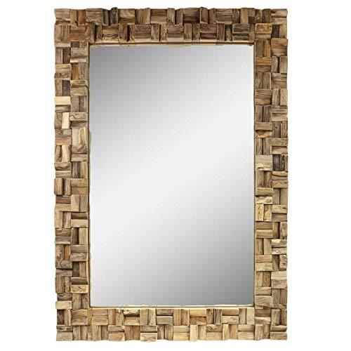 Oriental Galerie Spiegel Rahmen aus Holzstücken Thailand Massiv Holzrahmen Wandspiegel Holz-Spiegel ca. 70 x 100 cm Nr. 17