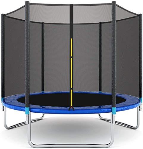 Blackpoolal Gartentrampolin, Bounce Jump Fitness Trampolin mit Sicherheitsnetz, Leiter, Springmatte, Sport Kinder Outdoor Trampolin mit GS TÜV getestet, bis zu 150 kg für Kinder Erwachsene