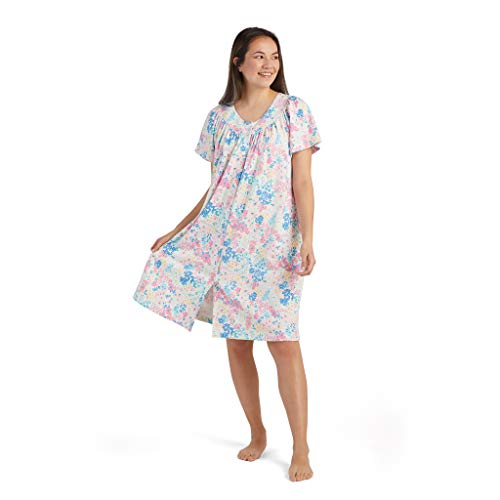 Miss Elaine Robe - Women's Short Interlock Premium Knit Robe, Ultra Soft and Snap Front, Short Sleeves and Round Neck (Medium, Watercolor Floral)