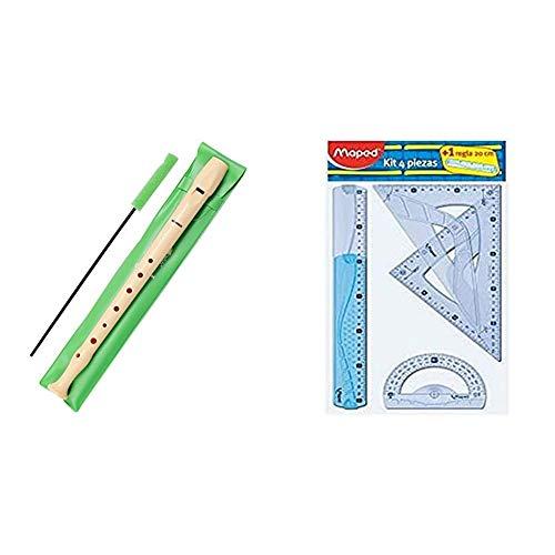Hohner 9508 Flauta de Plástico + Maped 227835Kit trazado 4+1, regla de 30 cm, cartabón, escuadra, transportador y regla 20...