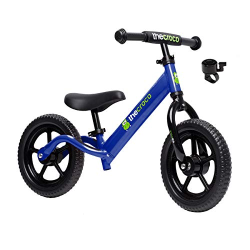 TheCroco Lightweight Balance Bike for Toddlers and Kids… (Blue, Premium Aluminum)