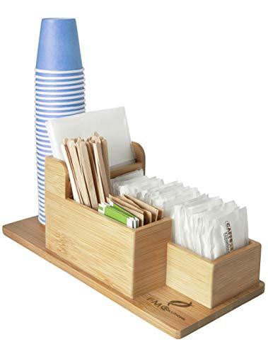FMC SOLUTIONS Porta Accessori da caffè e Tea in bambù per Zucchero in Bustine, Palette, Bicchieri, Tovagliolini di Carta e Cialde - Organizer da Tavolo con Piedini Antiscivolo per Casa e Ufficio