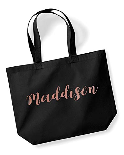 Maddison Personalised Tote Bag Shopping Shopper in Black Colour Glitter Or Metallic Print Birthdays Weddings Christmas-Medium-Rose